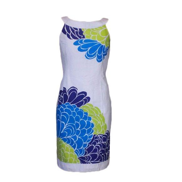 Jones Wear Dress White Floral Fitted Halter Dress